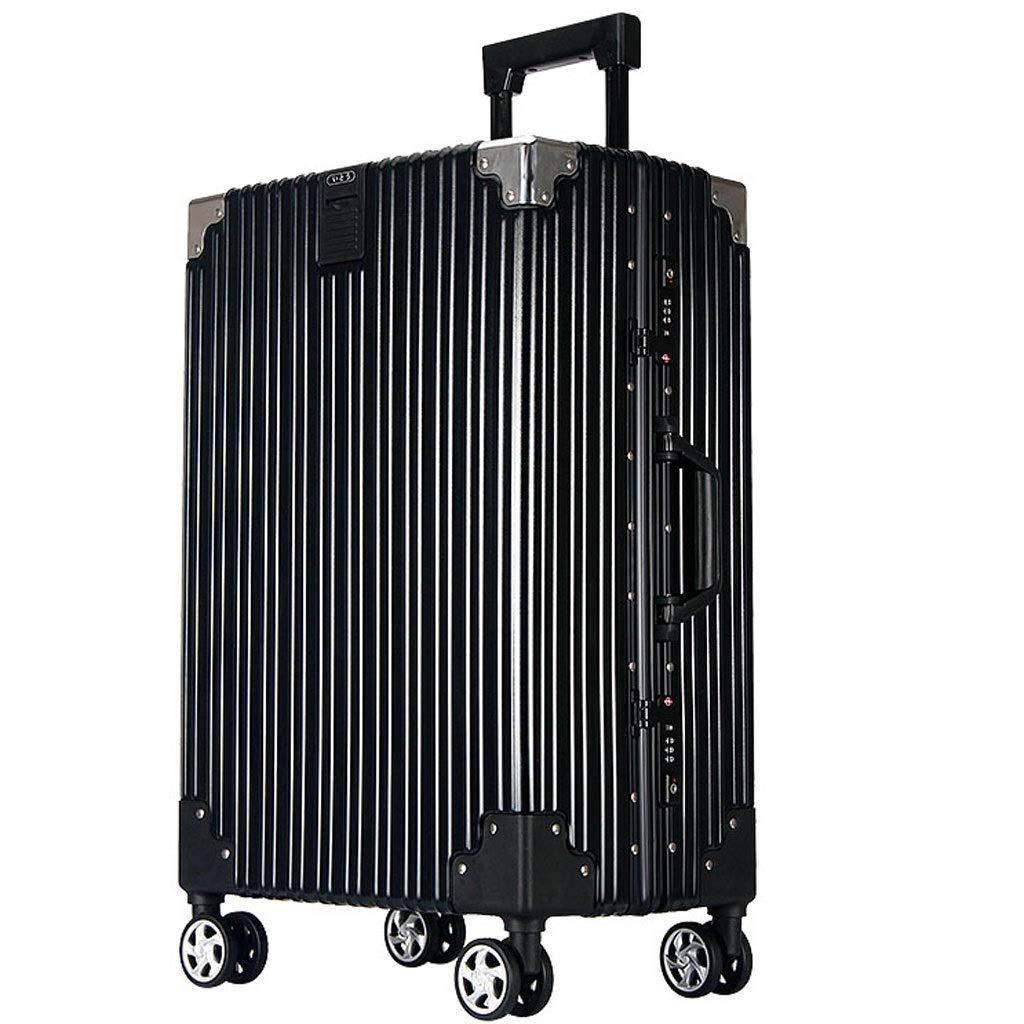 ZXXZ トロリーケース- 人および女性のための普遍的な車輪のアルミニウムフレームのトロリー箱のスーツケース、学生のパスワードボックスのスーツケース (Color : Black, Size : 26in) B07V95ZKCL Black 26in