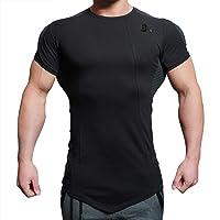 BROKIG Mens Bodybuilding Muscle Shirt,Gym Workout Fitness Short Sleeves T-Shirt