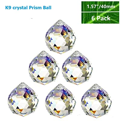 "Toowood K9 Crystal Ball Drop Prisms Optical Glass Triangular Prism Pyramid for Photography Decoration Birthday Gift Teaching (PrismBall 1.6""/40mm 6 Pack) : Garden & Outdoor"