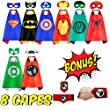 NeoHeroes Superhero Capes For Kids -8 Kids Cape and Masks +Bonus Belt Wristband