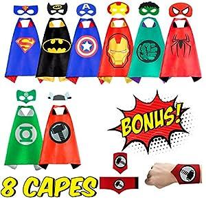 NeoHeroes Superhero Capes For Kids -8 Kids Cape and Masks +Bonus Belt Wristband