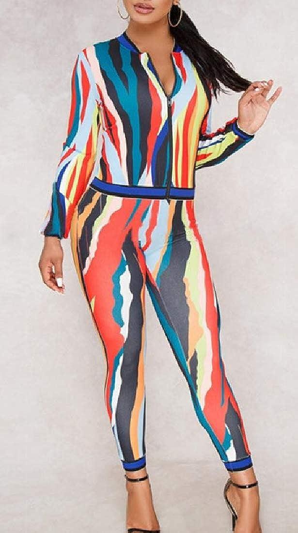 Cromoncent Womens Long Sleeve Pants Printed Multi-Color Jumpsuit Tracksuits