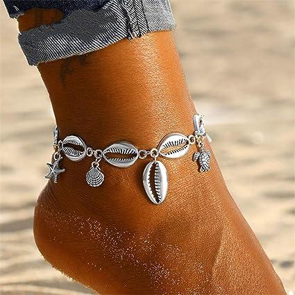 Hrain 2020///Multicouche Tortue Shell Perles Bracelets De Cheville pour Les Femmes Lune Soleil Vintage Plage Corde Cheville Bracelet sur La Jambe D/ét/é Pied Bijoux AGH950057A
