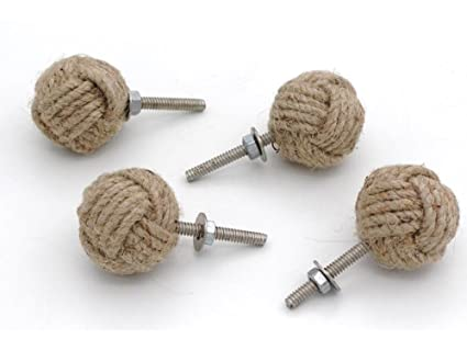Merveilleux RII 32MM Dia Set Of 4 Jute Rope Cabinet Knobs Nautical Decor