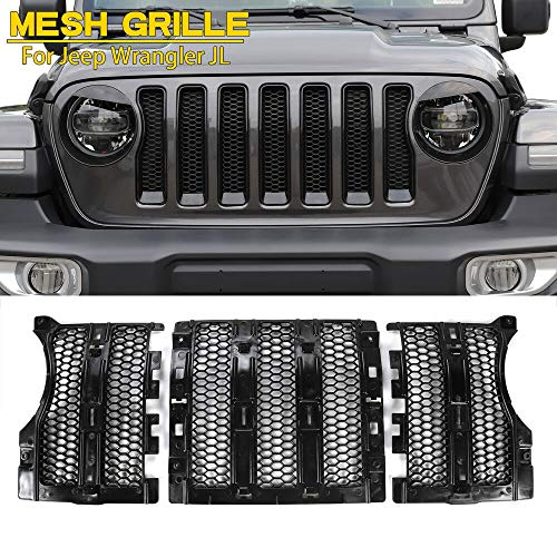 New Latest Honeycomb Matte Mesh Front Grill Grille Insert Cover For Jeep Wrangler JL
