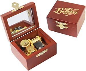 Youtang Happy Birthday Music Box Carved Wood Musical Box Wind Up Gold Mechanism Musical Gift for Christmas,Birthday,Valentine's Day