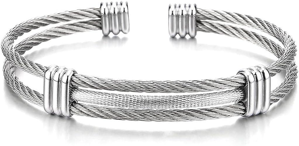 Réglable en acier inoxydable poli Cuff Bangle Bracelet Pour Hommes Femmes