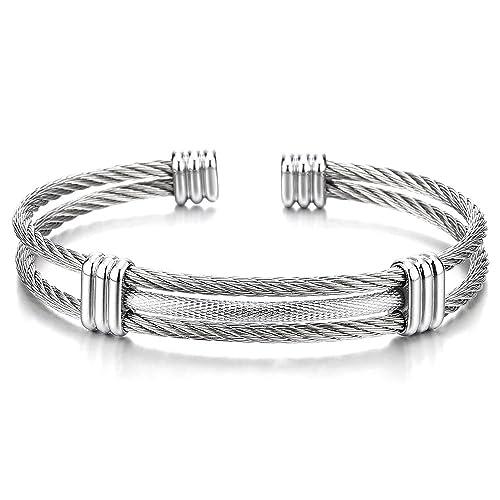 COOLSTEELANDBEYOND Ajustable Brazalete Pulsera de Hombre Mujer, Acero Inoxidable, Cable de Acero, Plata Color