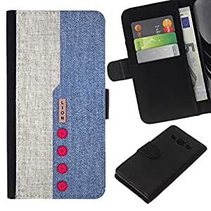 "Be-Star la tarjeta de CršŠdito Slots PU Funda de cuero Monedero caso cubierta de piel Para Samsung Galaxy A3 ( Dise?o Denim Blue Red Buttons tela de materia textil"" )"
