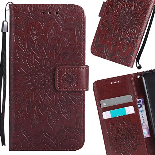 Borsa Portafoglio Marrone Pelle 5 Flip TPU Silicone Custodia Cuoio LEMORRY Custodia Fiorire Nokia Nokia Magnetico 5 per Sottile Cover Bumper Porpora Protettivo Morbido HtYqpY0B