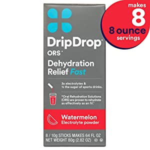 DripDrop ors - Patented Electrolyte Powder for Dehydration Relief fast - For Heat Exhaustion, Hangover, Illness, Sweating & Travel Recovery, Watermelon Flavor, Makes (8) 8oz Servings