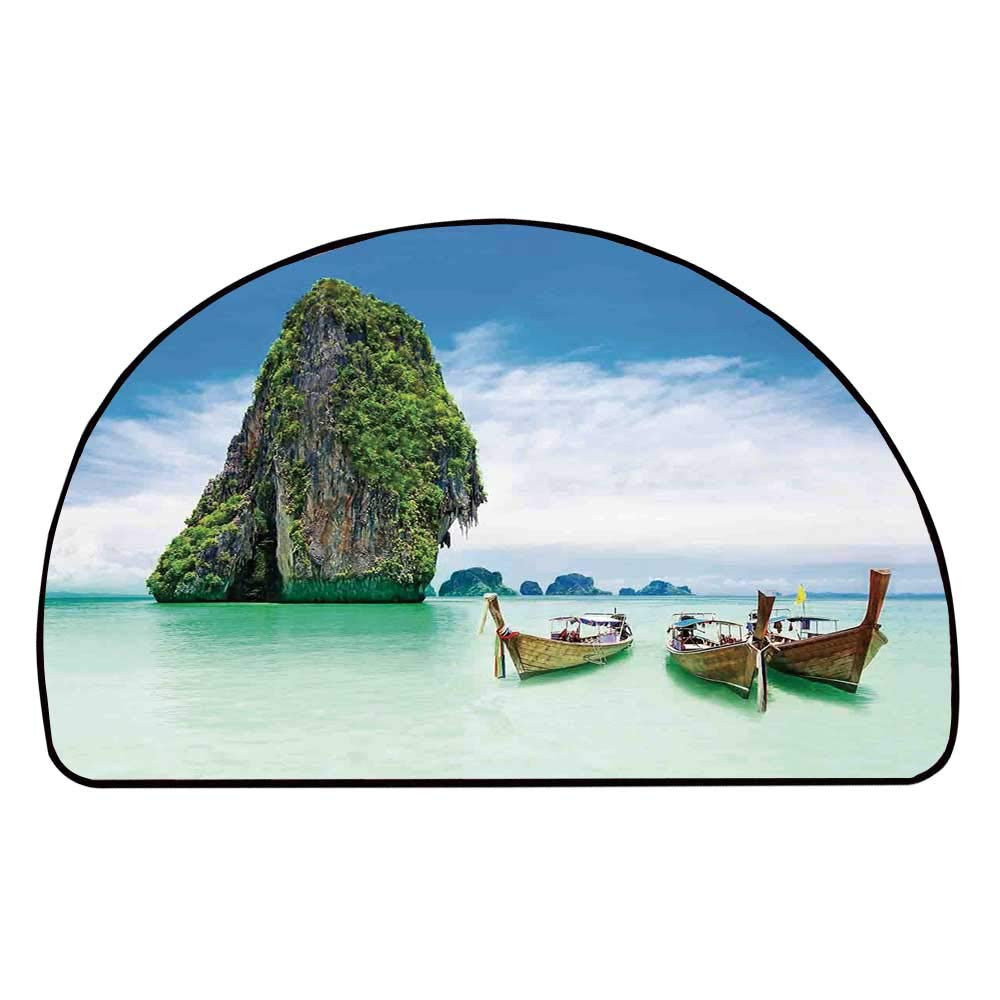 C COABALLA Ocean Island Decor Comfortable Semicircle Mat,Limestone Rock in The Sea with Boats Tranquil Heaven Coast with Horizon Off Nature Photo for Living Room,11.8'' H x 23.6'' L