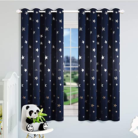 Kotile Star Blackout Curtains for Boys Bedroom - Navy Blue Grommet Thermal  Insulated Room Darkening Silver Star Print Curtains 2 Panels, 52 x 63 Inch