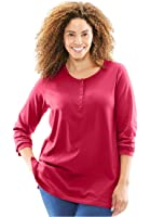 Women's Plus Size T-Shirt, Perfect, With Long Sleeves, Henley Neck