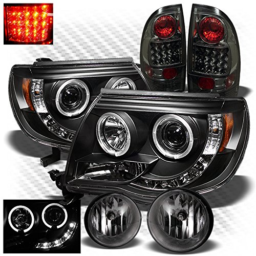 Xtune for 2005-2011 Toyota Tacoma Black Halo LED Projector Headlights + Smoked LED Tail Lights + Fog Lights 2006 2007 2008 09 - Toyota Tacoma Halo Headlights