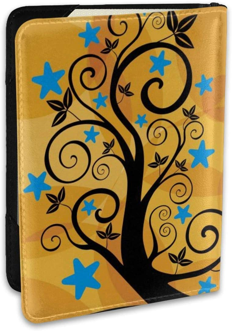 Swirling Tree Fashion Leather Passport Holder Cover Case Travel Wallet 6.5 In