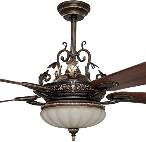 Home Decorators Collection Chateau Deville 52 Inch Integrated LED Indoor Walnut Ceiling Fan