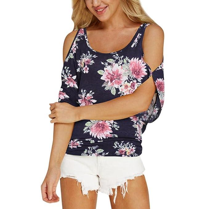 fbee200426aa QinMM Camisa de Floral Manga Corta para Mujer, Camiseta Tops Blusa ...