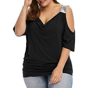 4197a0c78 Kobay T-Shirt Tops Women Summer Cold Shoulder Loose Casual Short Sleeve  Blouse Tops Plus