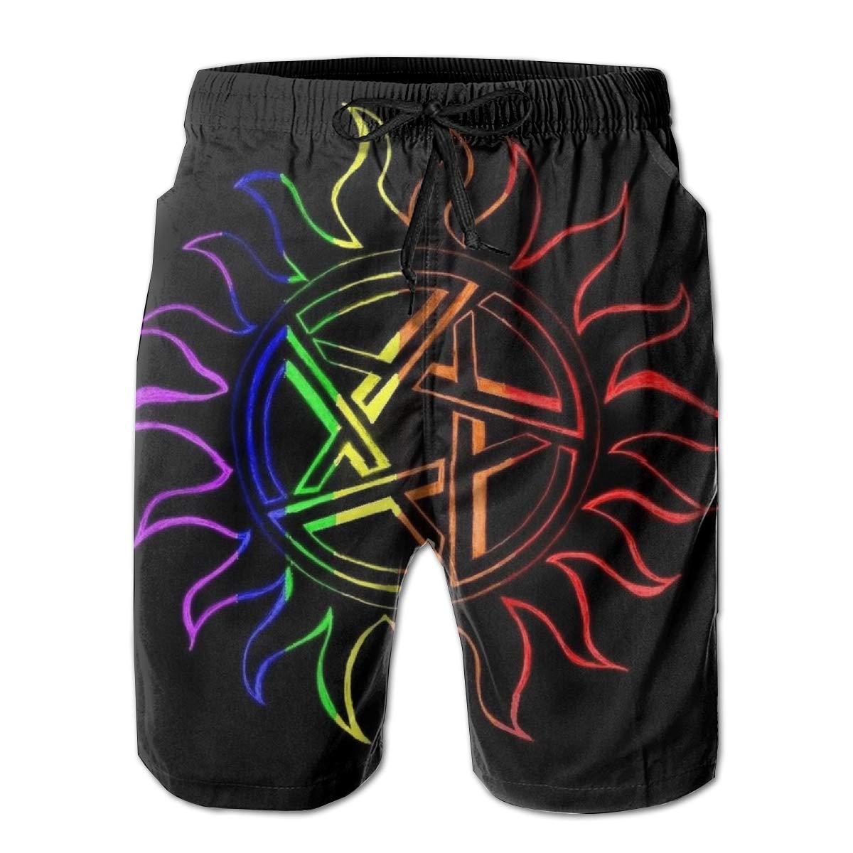 3D Printing Beach Shorts Supernatural-Enochian Tonal Black Swim Trunks