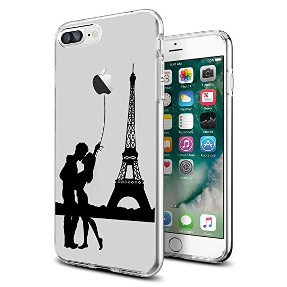 buy online da95f 02afd for iPhone 7 Plus 8 Plus Clear Case Design with Cool Eiffel Tower Paris for  iPhone Case 5.5