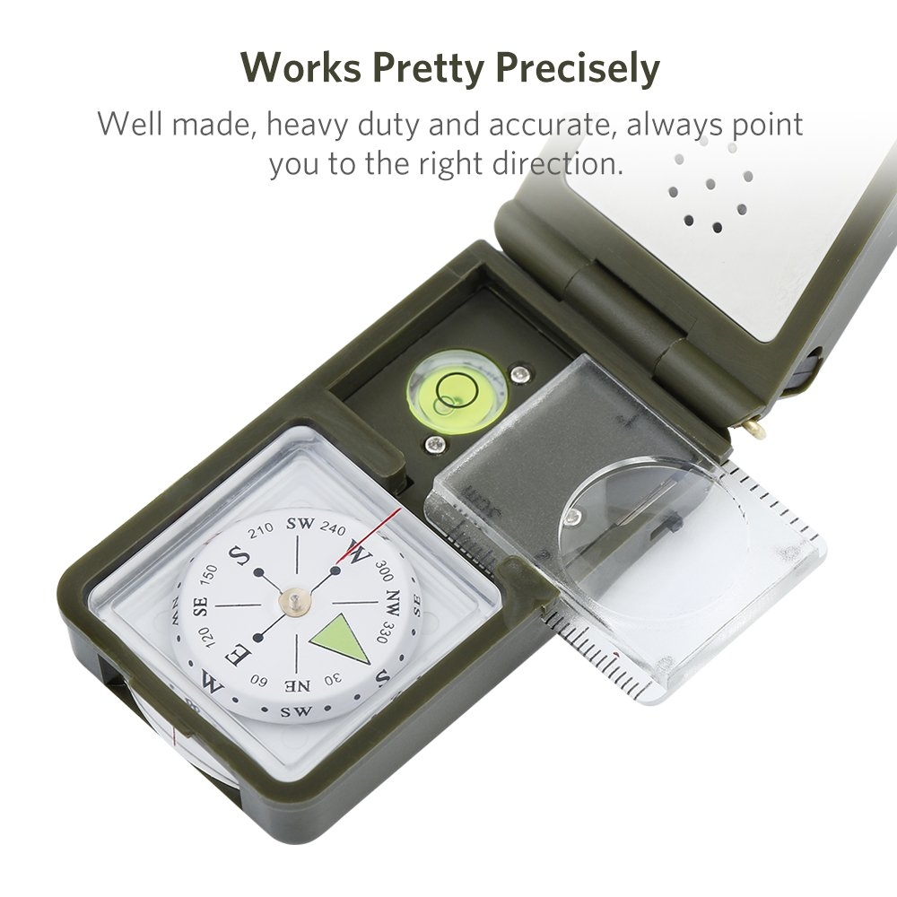 Landnics 10 in 1 Multi-functional Pocket Compass with Level//LED for Outdoor