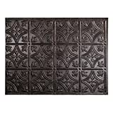 Fasade Easy Installation Traditional 1 Smoked Pewter Backsplash Panel for Kitchen and Bathrooms (18'' x 24'' Panel)