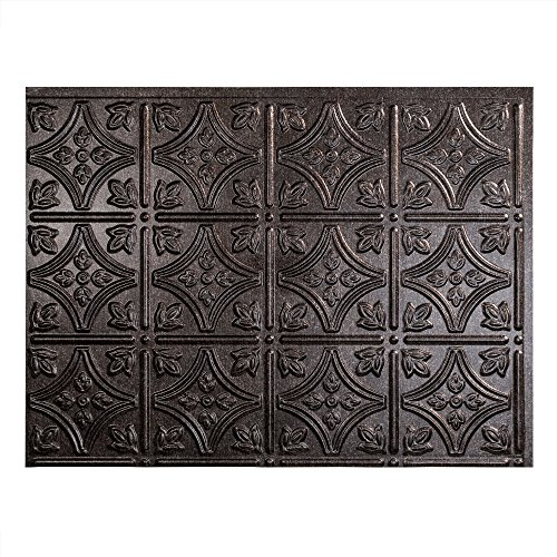 Fasade Easy Installation Traditional 1 Smoked Pewter Backsplash Panel for Kitchen and Bathrooms (18