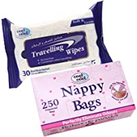Cool & Cool C&C Nappy Bags 250's + Travelling Wipes 30's Free, Pack of 2