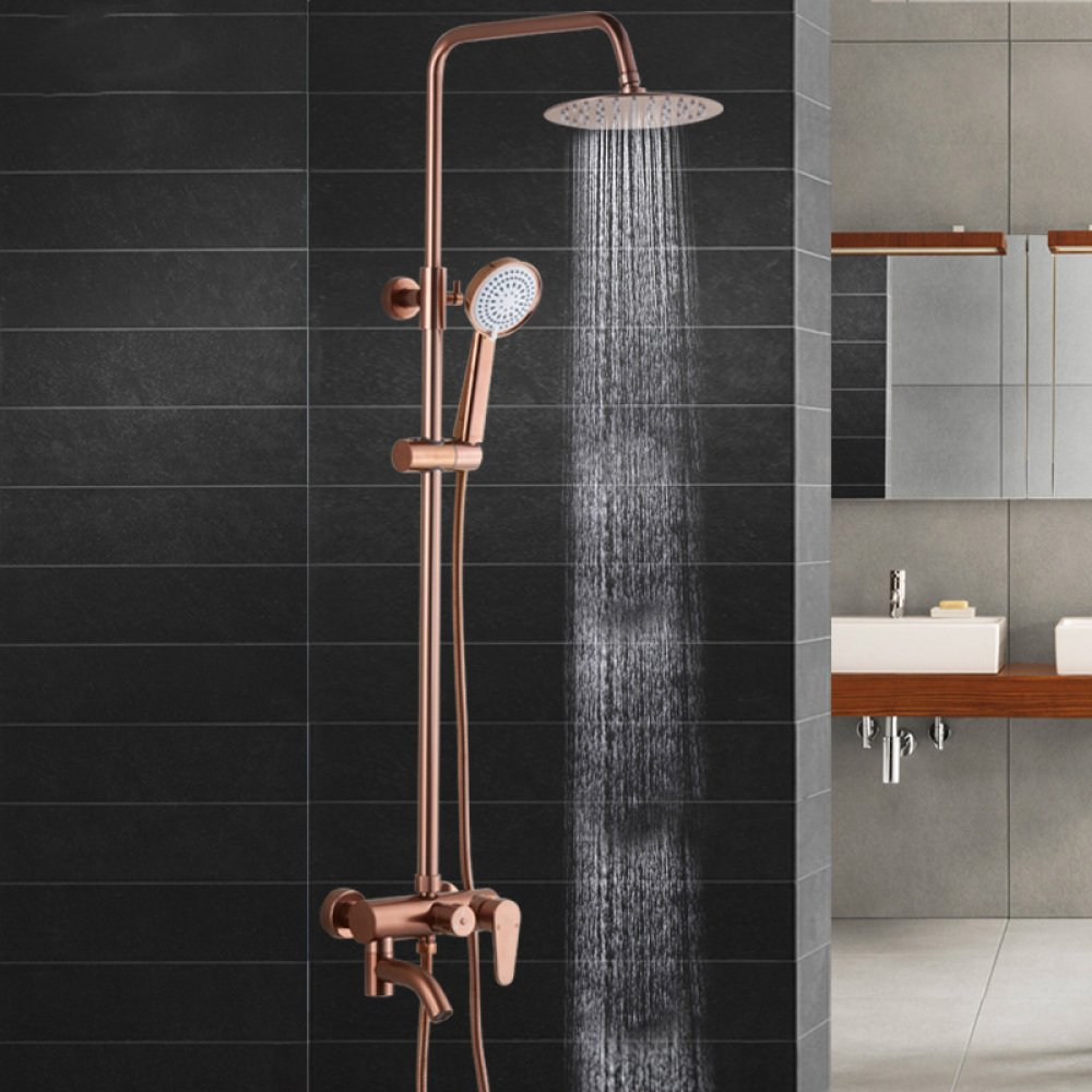 TOU Space Aluminum Shower Set Rose Gold Shower Nozzle Lift Third Gear Function,A