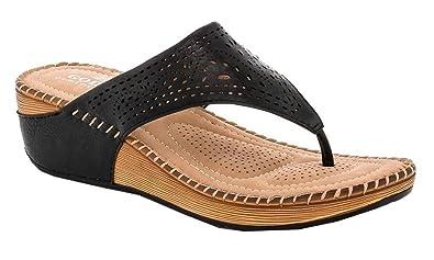 f697d4b58 Lady Godiva Allison Women s Comfort Wedge Slide Thong Sandals Black