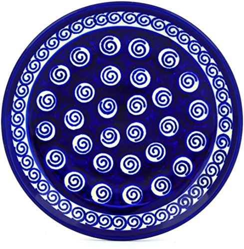 (Polish Pottery Divided Dessert Plate (Cobalt Swirl Theme) + Certificate of Authenticity)