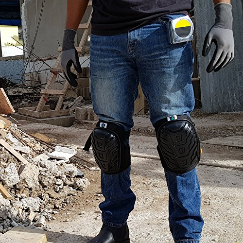 Knee Armor Heavy Duty Professional Knee Pads with Gel Cushions, EVA Foam, Adjustable Straps, Bonus Protective Gloves. Superb Knee and Hand Protection. Perfect for Construction, Gardening and More by Knee Armor (Image #4)