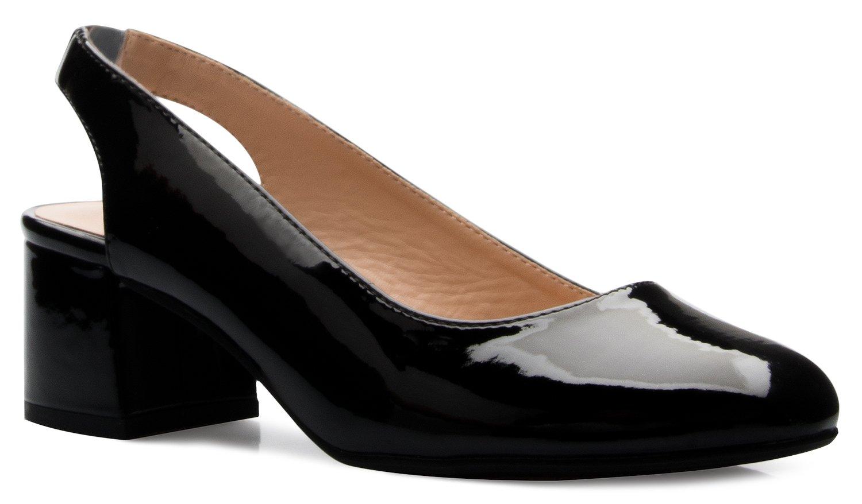 OLIVIA K Women's Round Toe Block Low Heel Slingback Dress Pumps - Comfort, Casual, Basic Style