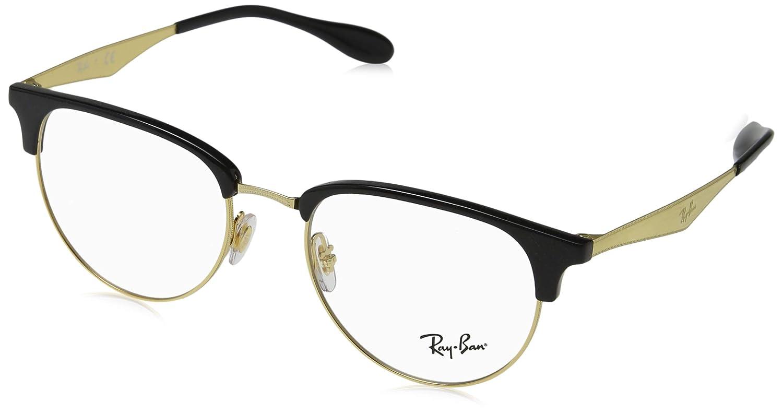 52bea8139e Amazon.com  Ray-Ban Men s 0rx6396 No Polarization Square Prescription  Eyewear Frame Black Gold 53 mm  Clothing