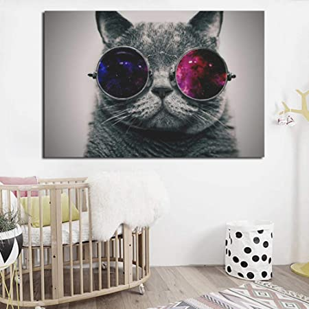 RQJOPE Pintura Decorativa Gato con Gafas de Sol Retrato ...