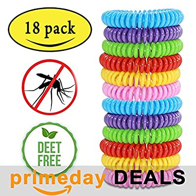 Mosquito Repellent Bracelets,Natural for Kids & Adults?18 Pack?Waterproof Elastic Coil Pest Control Bug Repellent Wristbands up to 300 Hrs Protection,Deet-free and Bugs Free