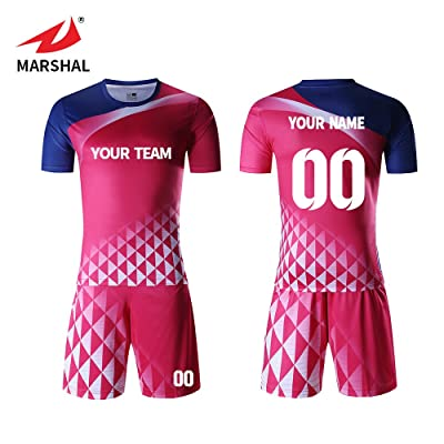 buy online 6cc42 113aa Marshal Jersey Custom Football Jersey Soccer Pink Uniforms ...
