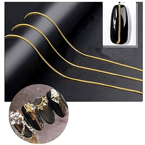 Clest F&H Superfine Punk Style Nail Art Decorations Metal Chain 3D Manicure Tips DIY Ornaments