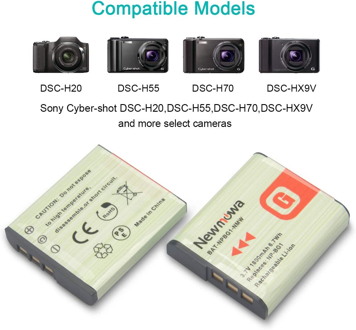 Sony DSC-H9 1200mah, 3.7v, Li-ion for Sony Digital Camera Compatible with Sony DSC-HX9V Sony Cyber-Shot DSC-H70 Sony NP-BG1 Sony DSC-H20 NP-BG1 Battery Replacement Sony DSC-HX20V