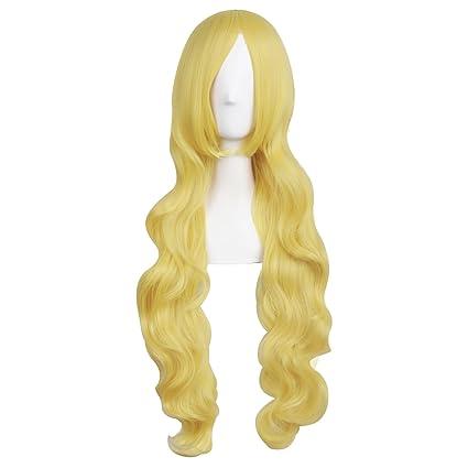 MapofBeauty 31 pulgada/80 cm Peluca cosplay de pelo rizado largo (dorado)