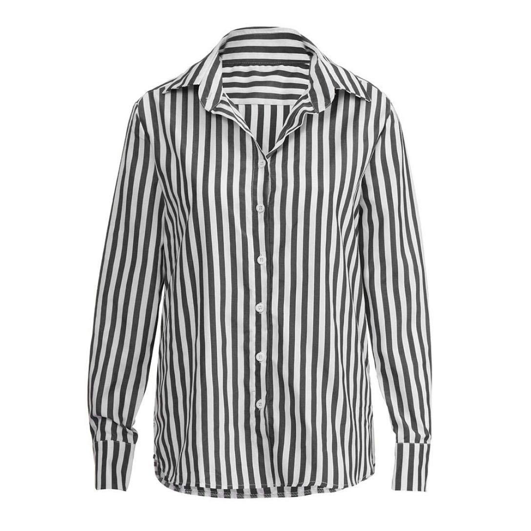Femmes Chemisier T-Shirt à Manches Longues Rayure OL Affaires Pas Cher Chic  Blouse Col b038df271b5