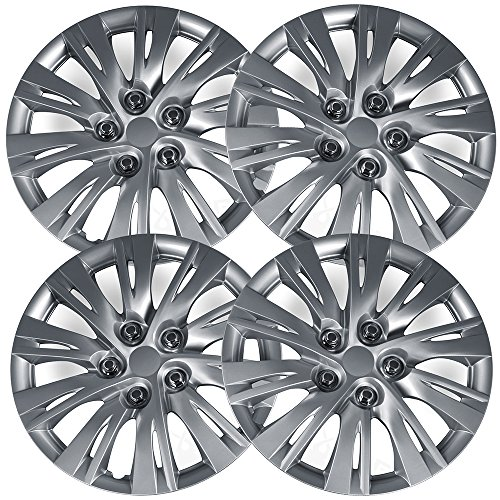 (OxGord Hub-caps for 12-16 Toyota Camry (Pack of 4) Wheel Covers 16 inch Snap On Silver)