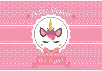 Amazon Com Laeacco 10x7ft It S A Girl Baby Shower Vinyl Photography Background Cute Unicorn Icon With Crown Pink Polka Dots Backdrop Gender Reveal Party Banner Wallpaper Studio Props Camera Photo