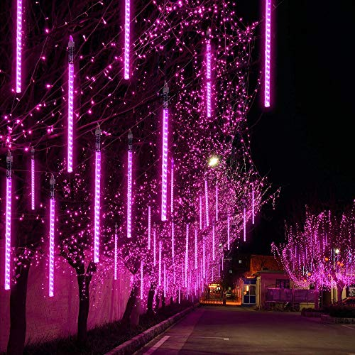 TianNorth Upgraded 50cm 8 Tubes 432 LED Meteor Shower Lights,8 Ultra Bright LED Waterproof cicle Raindrop Lights 19.68 inches Tubes for Christmas,Tree,Wedding, Party,Yard,etc (Purple)