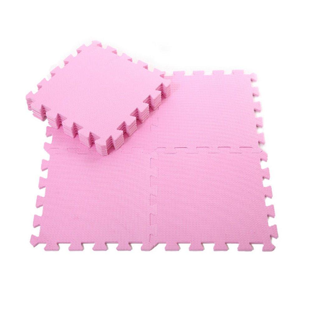 preliked 9Pcs Kids Foam Floor Play Mat Game Puzzle Environmental Protection Mats Yoga (Pink)
