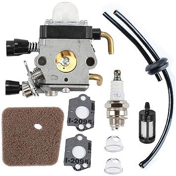Podoy FS38 Carburetor/Carb Fuel Line Air Filter Primer Bulb Kit for Stihl  FS55, FS45,FS55, FS38, FS45, FS46, FS55, KM55, HL45, FS45L, FS45C, FS46C,