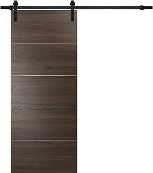 Puerta corrediza de granero marrón con herrajes negros | Planum 0020 Chocolate Ash | Riel 6.6 pies perchas de acero | clóset moderno de puerta de núcleo sólido: Amazon.es: Bricolaje y herramientas