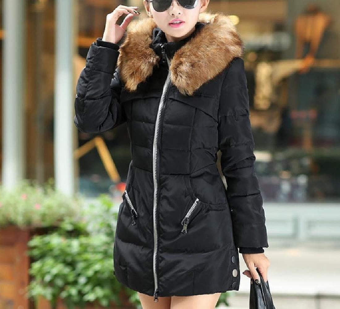 YUNY Womens Plus Size Hood Outwear Faux-Fur Trim Wadded Jacket Black 3XL