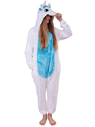 Unbekannt Damen Fleece Einteiler Nachtwäsche Pyjama Kostüm Kapuze Elefant grau M